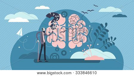 Dementia Health Disorder Flat Tiny Person Concept Vector Illustration. Brain With Stylized Thoughts