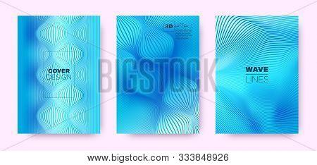 3d Lines Design. Wave Fluid Shape. Neon Modern Background. Gradient Striped Pattern. Gradient 3d Lin