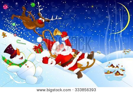 Cheerful Santa Claus Descends From A Hill On A Sled. Santa, Deer And Snowman Have Fun Descending Fro