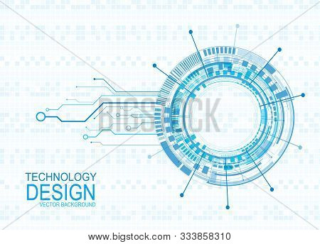 Tech Circle And Technology Background, Abstract Technology Background Hi-tech Communication Concept,