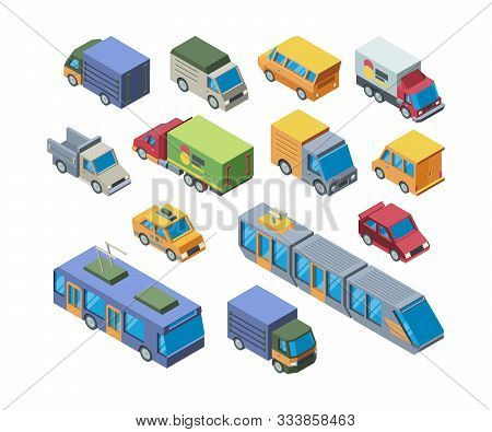 Urban Transport Isometric 3d Vector Illustrations Set