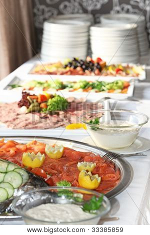 Smoked Salmon Platter On A Buffet Table