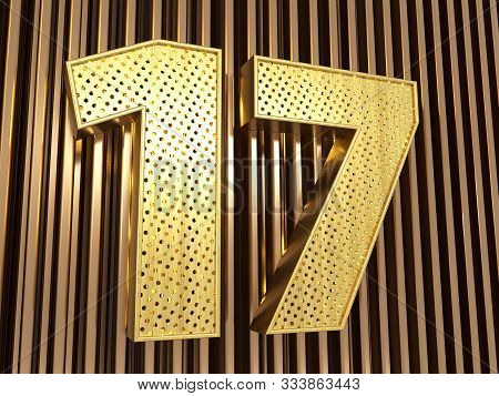 Number 17 (number Seventeen) Perforated With Small Holes On The Metal Background. 3d Illustration