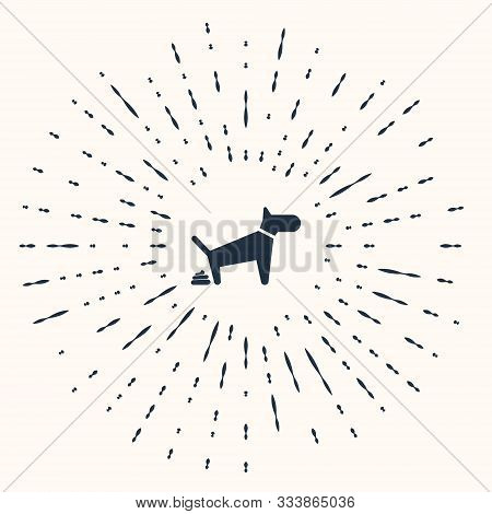 Grey Dog Pooping Icon Isolated On Beige Background. Dog Goes To The Toilet. Dog Defecates. The Conce