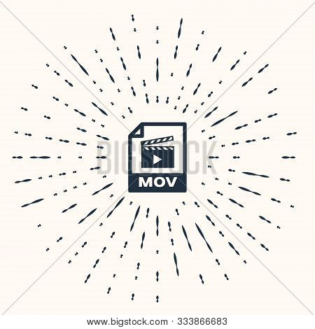 Grey Mov File Document. Download Mov Button Icon Isolated On Beige Background. Mov File Symbol. Audi