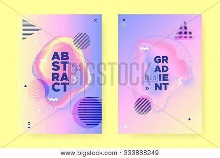 Pastel Fluid Pattern. Rainbow Hologram Background. Pastel Memphis Elements. Wave Shapes. Fluid Banne