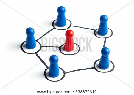 Communication In A Business Team Online And With Each Other. Social Connections Between People. Team