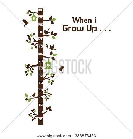 Kids Height Ruler With A Tree For Wall Decals, Wall Stickers - Vector
