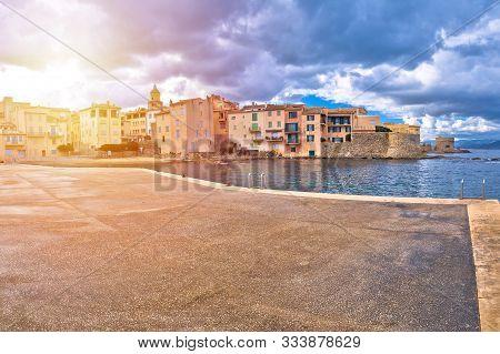 Saint Tropez. Scenic Saint Tropez Waterfront Sun Haze View, Famous Tourist Destination On Cote D Azu