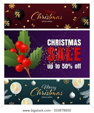 Christmas Banner Collage With Special Offer And Poinsettia Image. Calligraphic Font. 2020. Holiday C