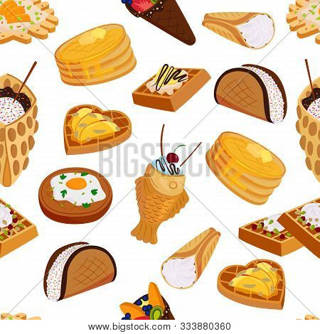 Waffle Sweet Cookies Seamless Pattern Flat Style Vector Illustration. Wafer Delicious Baked Pastry C