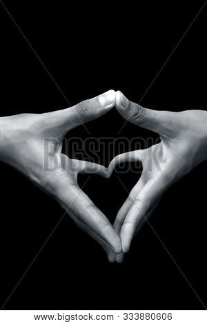 Close Up Shot Of Pair Of Human Hands With Open Hands Stretched And Doing Yoni Mudra Or Feminine Adi