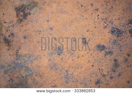 Iron Rusty Oxidizing Planks Texture Closeup. Old Metal Background
