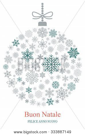 Christmas Bauble Vector With Snowflakes And Italian Christmas Greetings On White Background. Transla