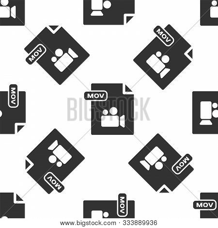 Grey Mov File Document. Download Mov Button Icon Isolated Seamless Pattern On White Background. Mov