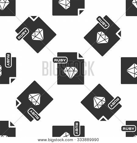 Grey Ruby File Document. Download Ruby Button Icon Isolated Seamless Pattern On White Background. Ru