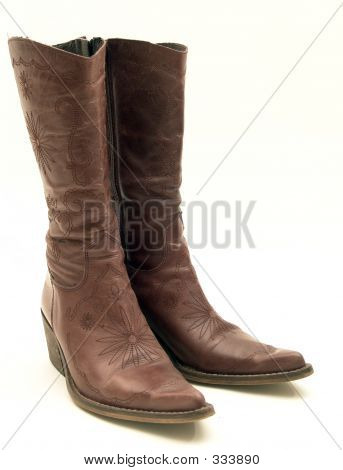 Brown Cowboy Leather Boots