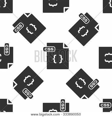Grey Css File Document. Download Css Button Icon Isolated Seamless Pattern On White Background. Css