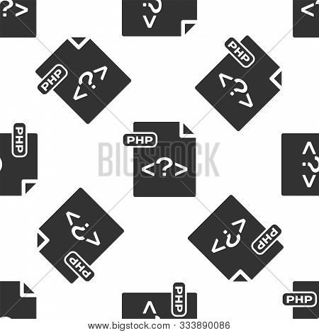 Grey Php File Document. Download Php Button Icon Isolated Seamless Pattern On White Background. Php