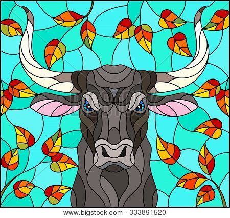 Illustration In Stained Glass Style With Bull Head,on The Background Of Autumn Tree Branches And The