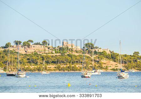 Pollenca Port, Majorca, Spain - 08.09.2011 : Yacht And Boats Anchored In Port On Mallorca Island. Ma