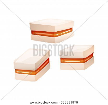 Souffle With Orange Jam, Vector Candy Set