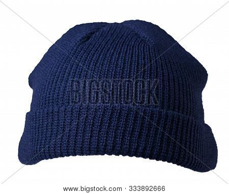 Docker Knitted Dark Blue Hat Isolated On White Background. Fashionable Rapper Hat. Hat Fisherman Fro