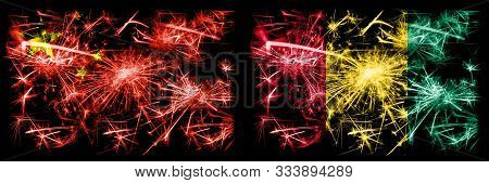China, Chinese Vs Guinea, Guinean New Year Celebration Travel Sparkling Fireworks Flags Concept Back