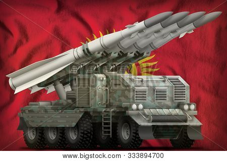 Tactical Short Range Ballistic Missile With Arctic Camouflage On The Kyrgyzstan Flag Background. 3d