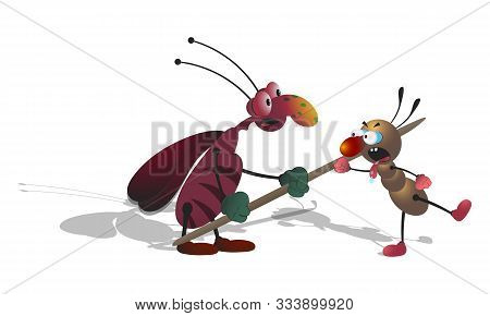 Cartoon Skinny Striped Cockroach Pokes A Toothpick Into A Small Ant. Isolated Illustration On A Whit