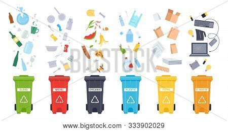 Trash Containers. Organic, E-waste, Plastic, Paper, Glass And Metal Trash Containers. Recycling Garb