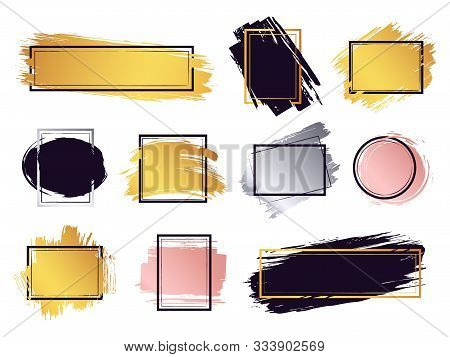 Glamour Ink Brush Frame. Gold Frame Elements, Commercial Boxes For Text, Ink Brush Stroke Border, Mo