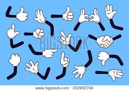 Cartoon Arms. Gloved Hands With Different Gestures, Various Comic Hands In White Gloves Vector Illus