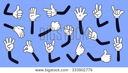 Cartoon Gloved Arms. Comic Hands In Gloves, Retro Doodle Arms With Different Gestures Vector Isolate