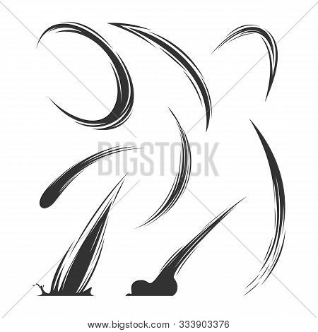 Set Of Swoosh Comic Logo Vector. Swoosh Energy Effect Vector Illustration. Comet Logo Icon Concept