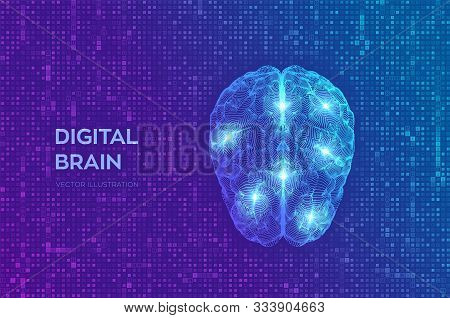 Brain. Digital Brain On Streaming Matrix Digital Binary Code Background. 3d Science And Technology C