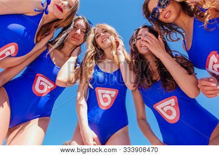Sheregesh, Kemerovo Region, Russia - April 22, 2017: Group Of Young Happy Pretty Women In Blue Bikin