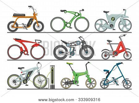 Bicycle Vector Modern E-bike Design Bikers Cycle Biking Transport With Wheels And Pedals Illustratio
