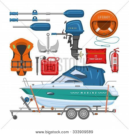 Boat Equipment Vector Motorboat Yacht With Life-vest Lifebuoy Paddle Anchor Illustration Marine. Set