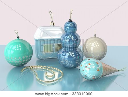 3d Illustration Of Christmas Tree Toy With Snow Flakes And Snowman Design Garland Close Up With Copy