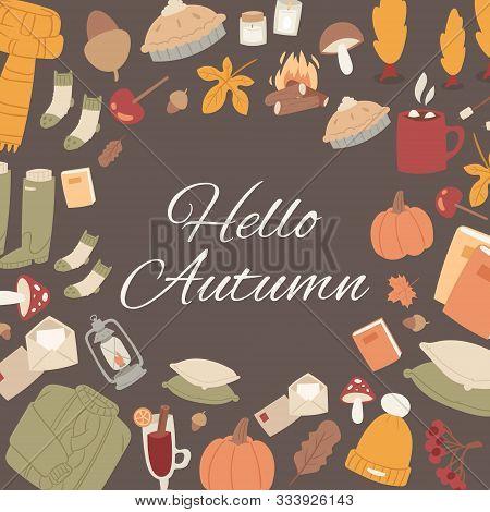 Hello Autumn Vector Set Of Fall Cute Objects. Sweater, Falling Leaves, Mushroom, Pumpkin And Woolen