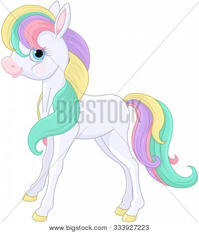 Illustration of magic Rainbow Pony sitting
