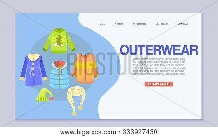 Winter Clothes Or Outerwear Web Template, Vector Illustration. Clothing For Outdoor Activities Web P