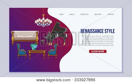 Vintage Furniture Interior Vector Web Template. Chairs, Table, Grand Piano And Sofas In Renaissance