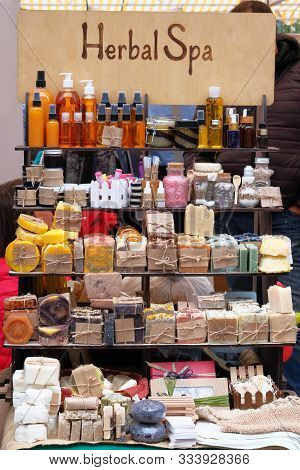 Handmade Natural Cosmetics. Cosmetics With Organic Natural Ingredients Sold At The Market. Herbal Sp