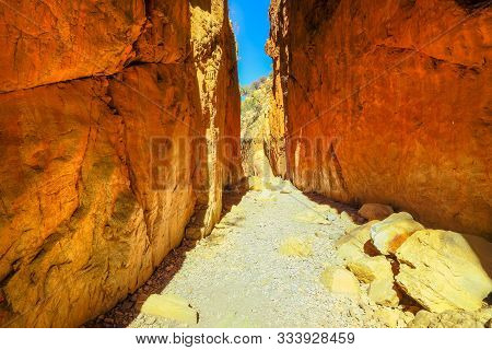 An Iconic Landmark In Central Australia: Standley Chasm In West Macdonnell Ranges, A Natural Geologi