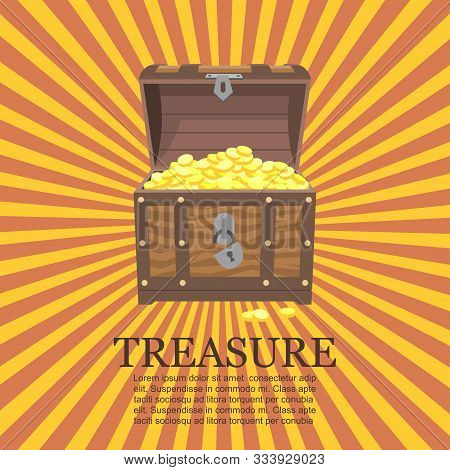 Pirates Trunks Chests With Gold Coins Treasures Vector Illustration. Treasure In Old Box On Vintage