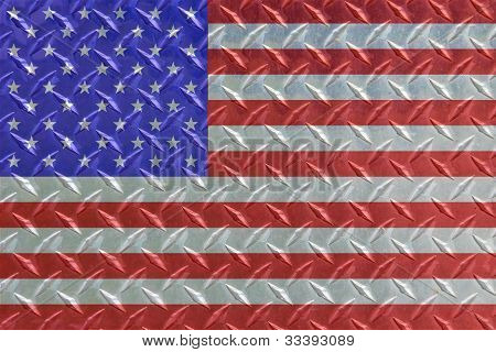 American Flag on Diamond Steel