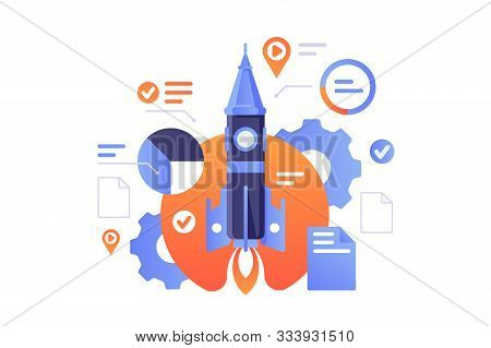 Business Start Up Vector Illustration. Successful Rocket Launch Of New Biz Project. Documents, Diagr