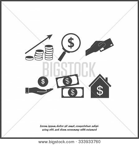 Set Of Business Icons. Icons Of Money, Bank And Coin. Business Growth On White Isolated Background.